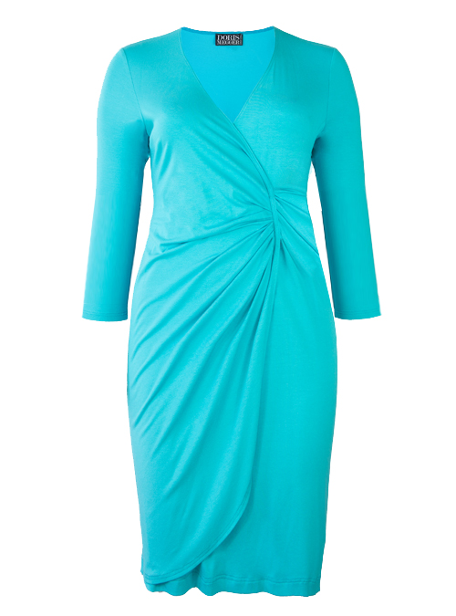 Curvy Wrap Dress, Turquoise, Jersey