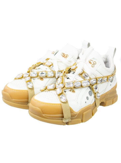 Chunky Sneaker, White Crystal Chain