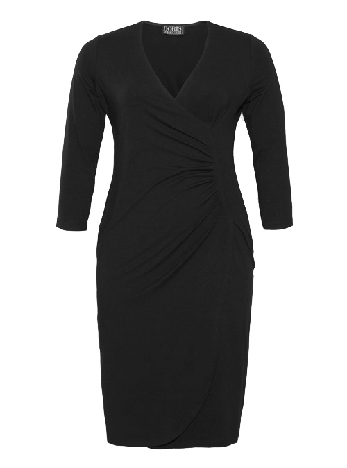 Curvy Wrap Dress, Classic Black, Jersey