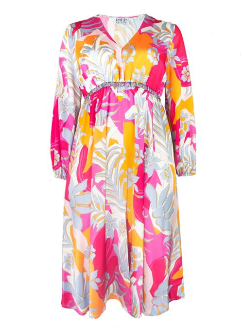 Vicky V-Neck Dress, Peach and Pink, Silk