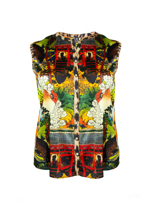 Blouse Statement Sleeveless, Paradise Gardening