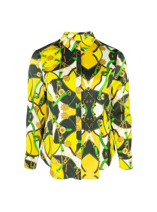 Silk Hemdbluse, Neon Royale