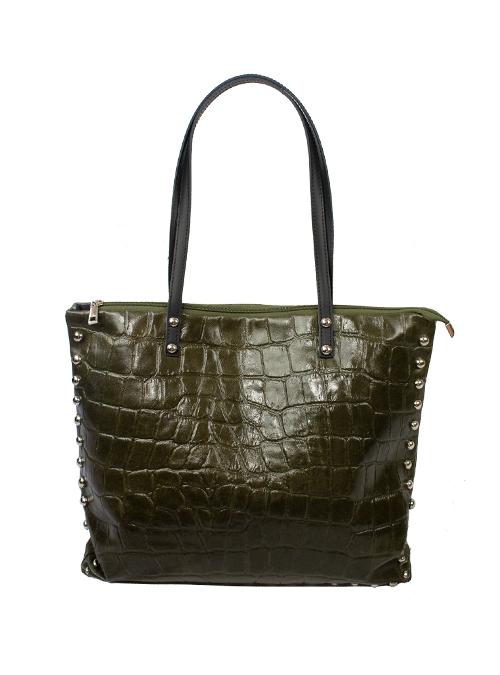 Stud Bag, Glossy Croc, Olive