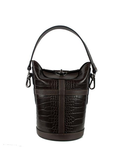 Case Bag, Croc Optic, Dark Brown