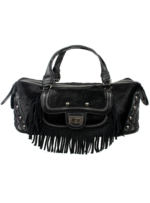 Fringe Shoulder Bag, Fake Fur, Black