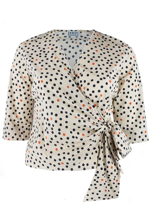 Matte Silk Wrap Blouse Gina, Creative Italy Dots