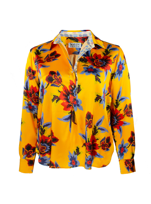 Casual Silk Blouse, Short Cut, Graphic Floral