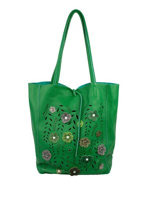 Bucket Bag, Emerald Flowers