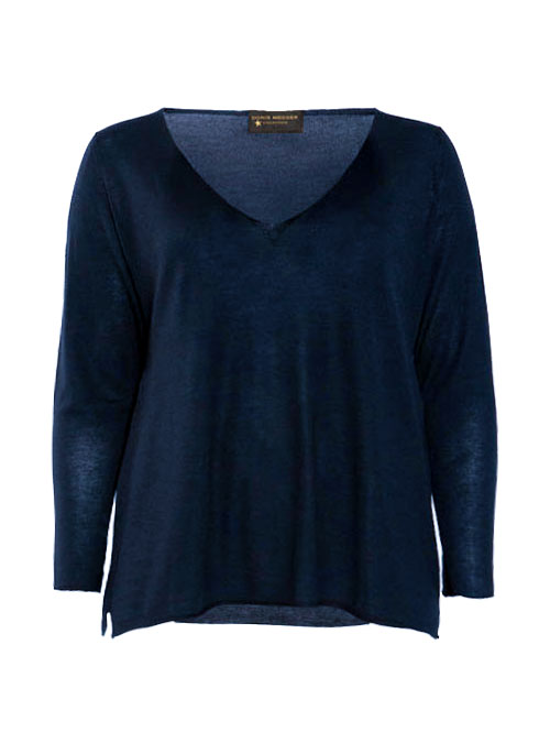 Layer Pullover, Cashmere and Silk V-Neck, Midnight blue