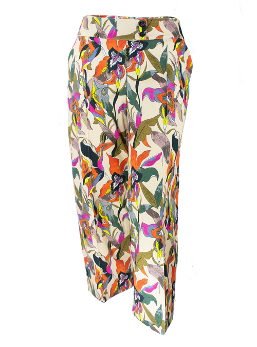 Printed Marlene Pants, High Waist