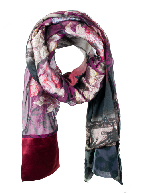 Printed Silk Scarf, Extra Long, Lady Godiva