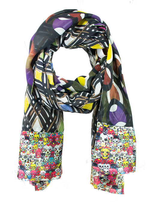 Printed Silk Scarf, Extra Long, Excitingly Retro
