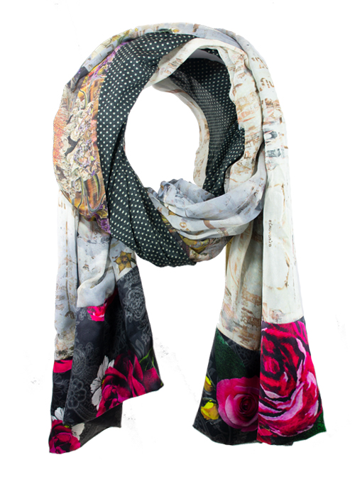 Printed Silk Scarf, Extra Long, Autumn Dust