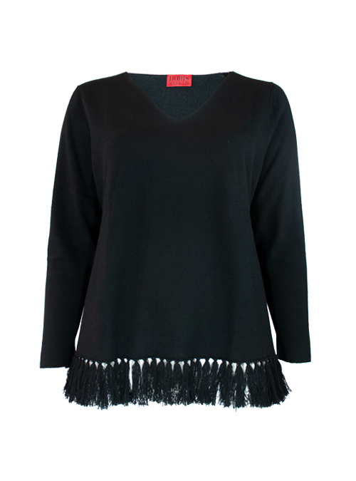 Fringed Layer Cashmere V-Neck, Filati Loro Piana, Black