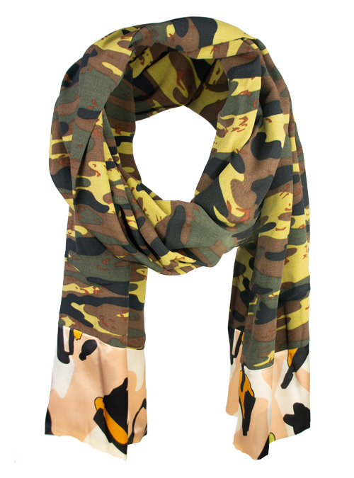 Printed Silk Scarf, Extra Long, Beauty Camouflage