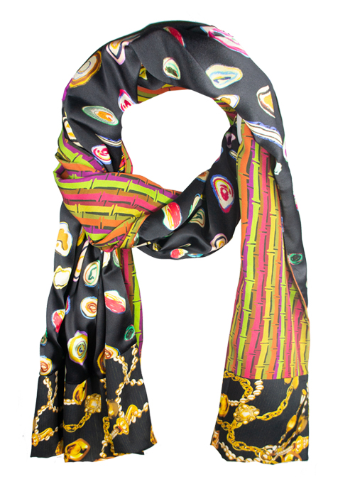 Printed Silk Scarf, Extra Long, Three Dimensions