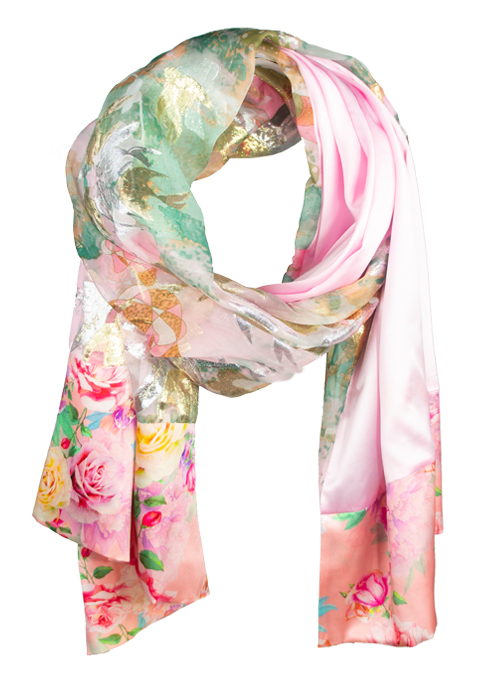 Printed Silk Scarf, Extra Long, Rich and Royal