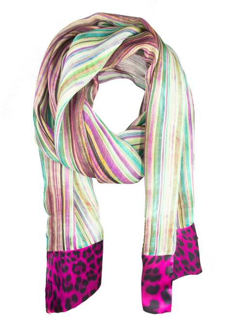 Printed Silk Scarf, Extra Long, Aquarell stripes