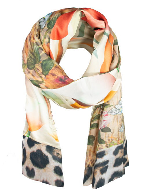 Printed Silk Scarf, Extra Long, Miracle Garden