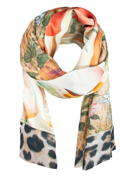 Printed Silk Scarf, Extra Long, Miracle Garden