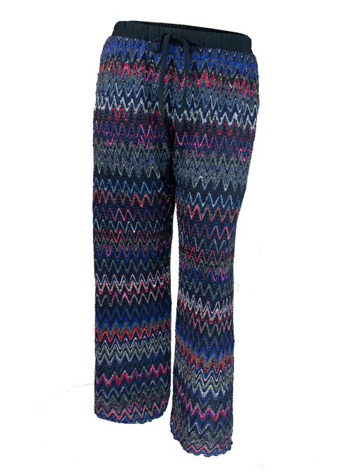 Ethno Knit-Pants, Wide Leg, Silk Lining