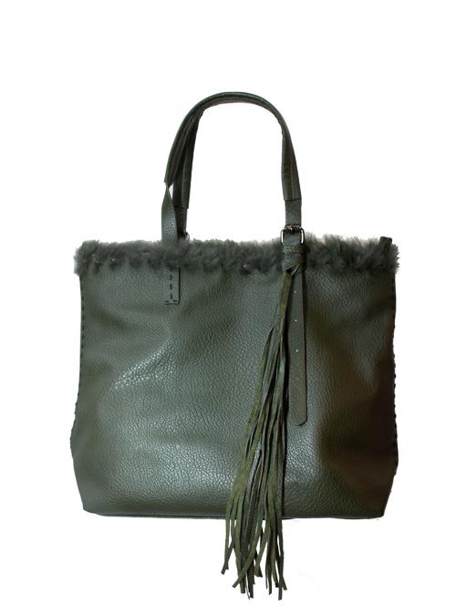 Fake Fur Tote Bag, Dark Olive