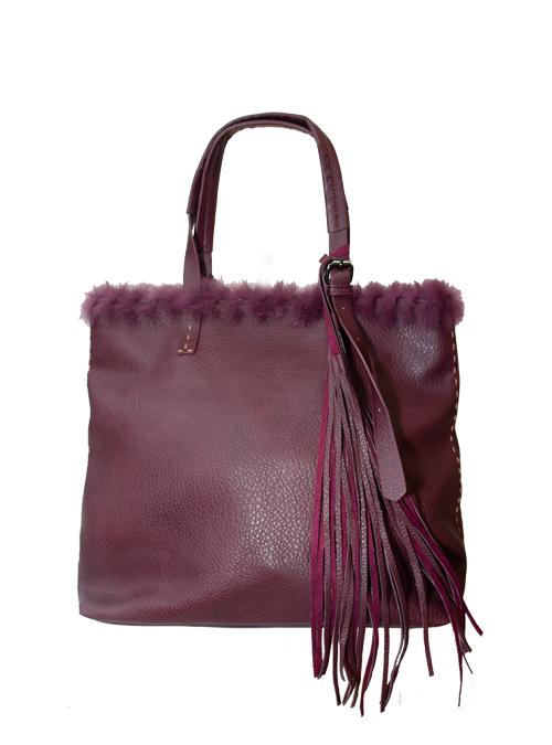 Fake Fur Tote Bag, Bordeaux Red