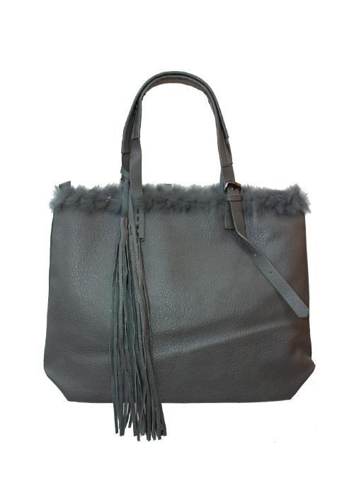 Fake Fur Tote Bag, Fabulous Grey
