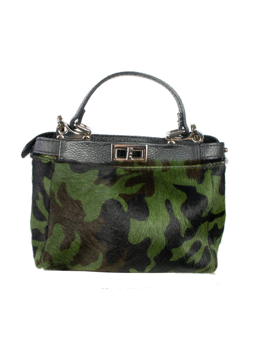 Camouflage Fur Top Handle Bag