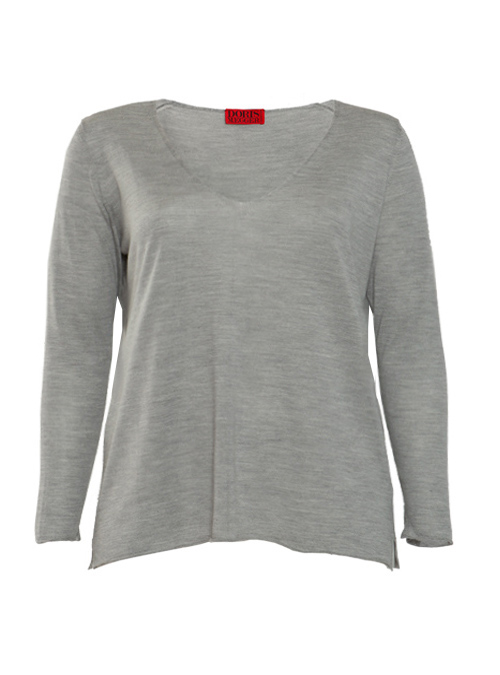 Layer Pullover, Cashmere and Silk V-Neck, Argento Melange