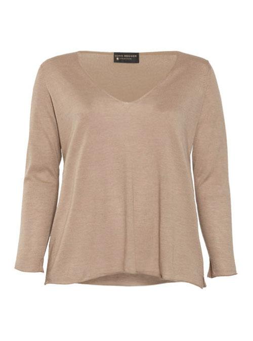 Layer Pullover, Cashmere and Silk V-Neck, Sabbia