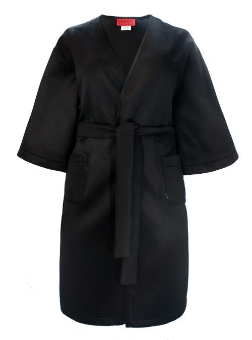 New Aura Cashmere Coat, Noir