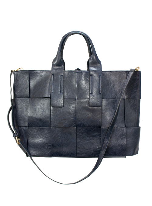 Faux Leather Tote Bag, Dark Blue
