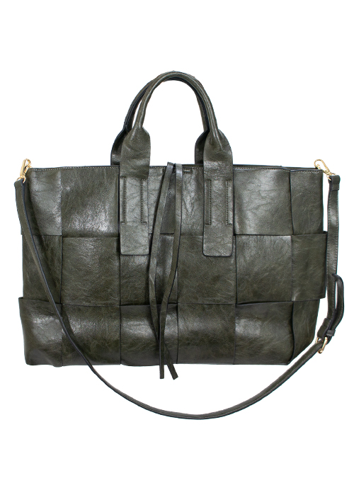 Faux Leather Tote Bag, Olive Green
