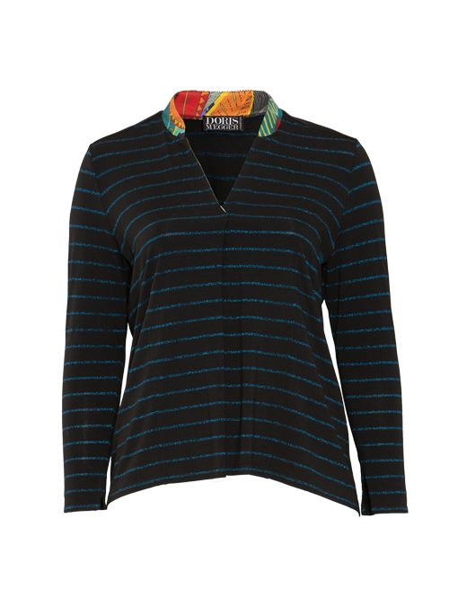 Jersey and Silk Pull-Shirt, Italian stripes, Lurex Edition, Cobalt
