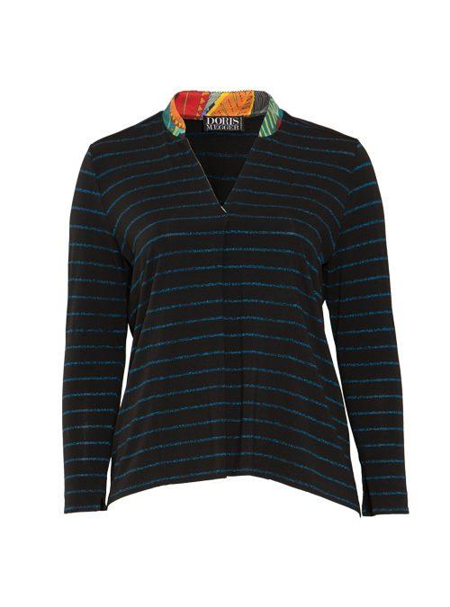 Jersey and Silk Pull-Shirt, Italian stripes, Lurex Edition, Cobalt