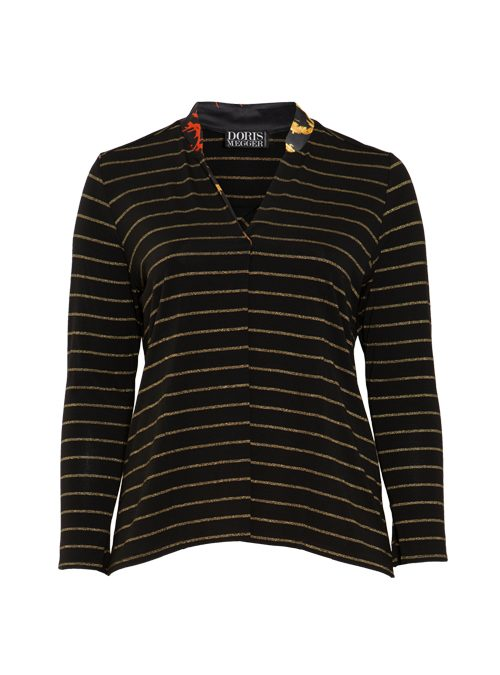 Jersey and Silk Pull-Shirt, Italian stripes, Lurex Edition, Gold