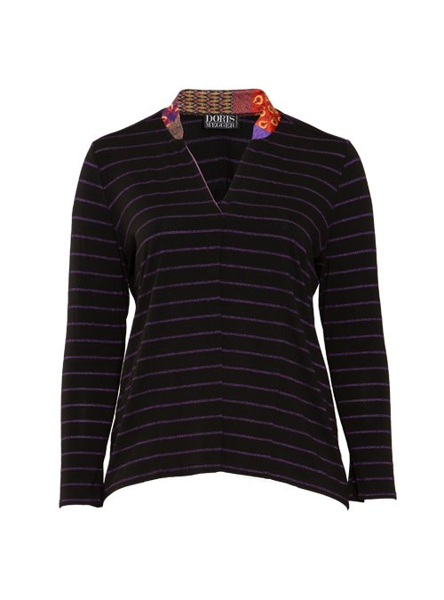 Jersey and Silk Pull-Shirt, Italian stripes, Lurex Edition, Violet