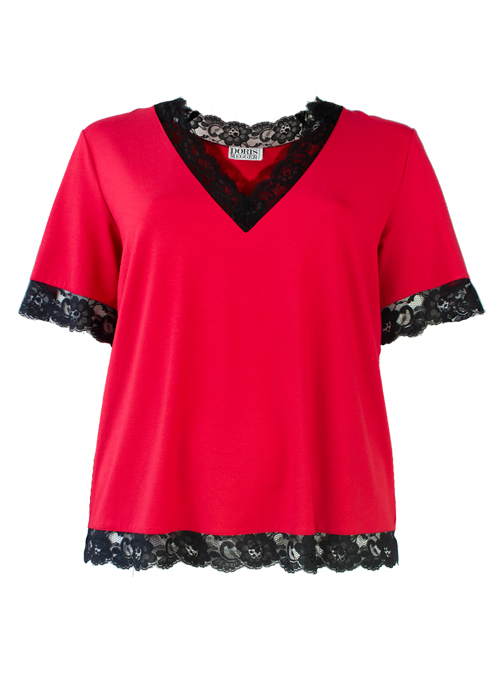 Signorina Shirt, Passion Red, Lace Edge