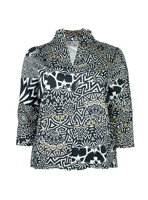Spot on Blouse, Gold over Graphic, Black & White