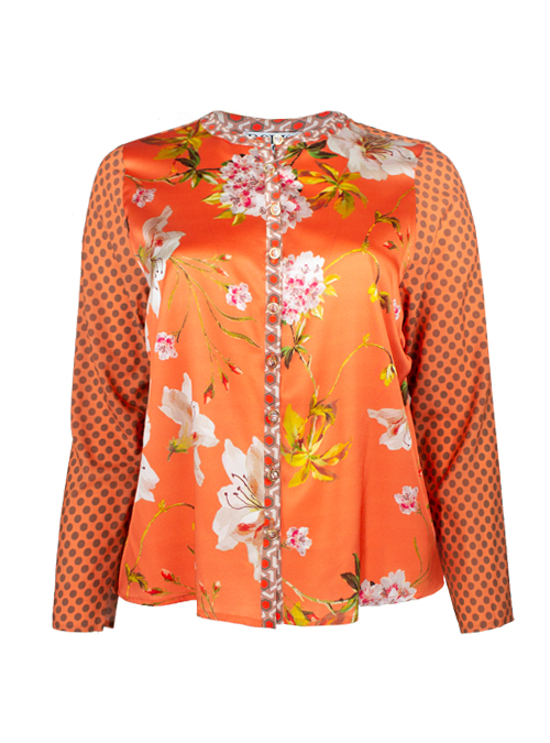 Silk Blouse, Dots in Paradise, Loose Fit