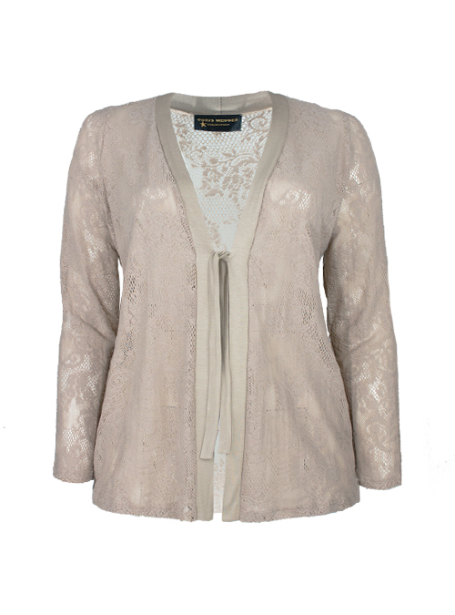 Lace Jacket, Nude, Self-tie sash