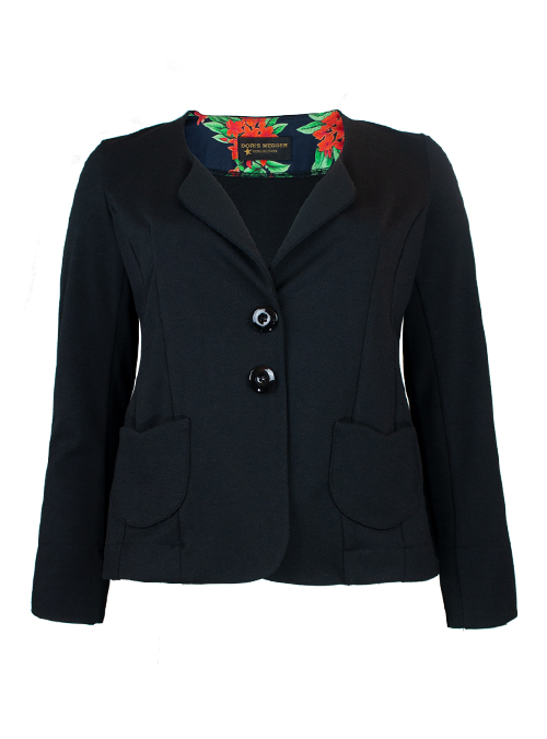 Peplum Jacket, Heavy Jersey, Black