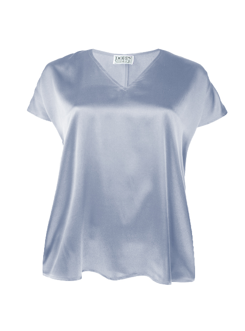 Sleek Silk Shirt, Light Blue