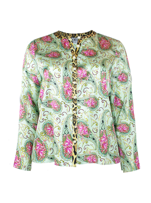 Silk Blouse, Oriental Garden, Loose Fit