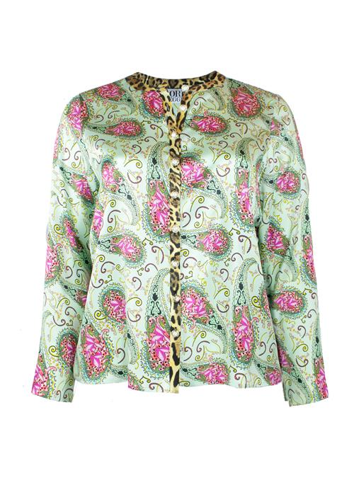 Silk Blouse, Oriental Garden, Loose Fit