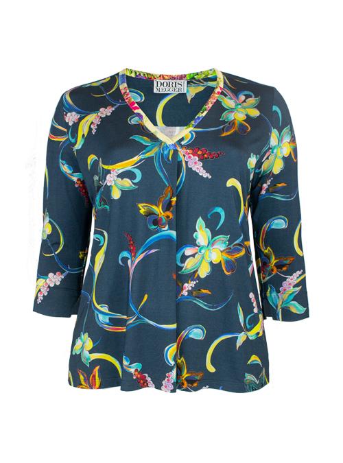 Pull-on Shirt, V-Neck, Korfu Daydream