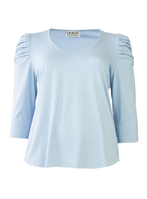 Ruffle Sleeve Shirt, Sky Blue