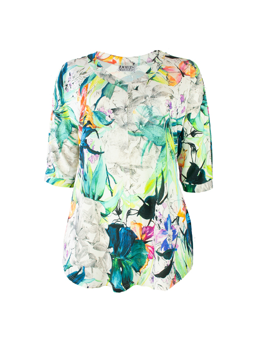 New Swing Shirt, Fantasia Florale, Modest V-Neck