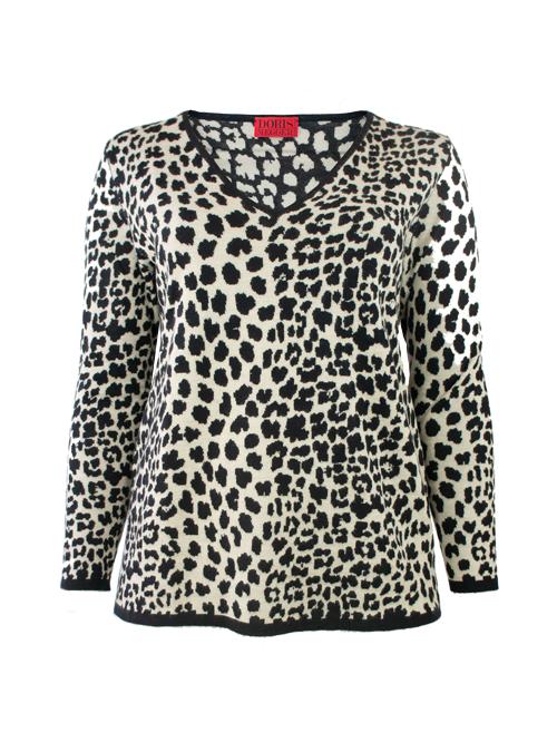 Cashmere Silk Pullover, Leo Jaquard, Ivory Black